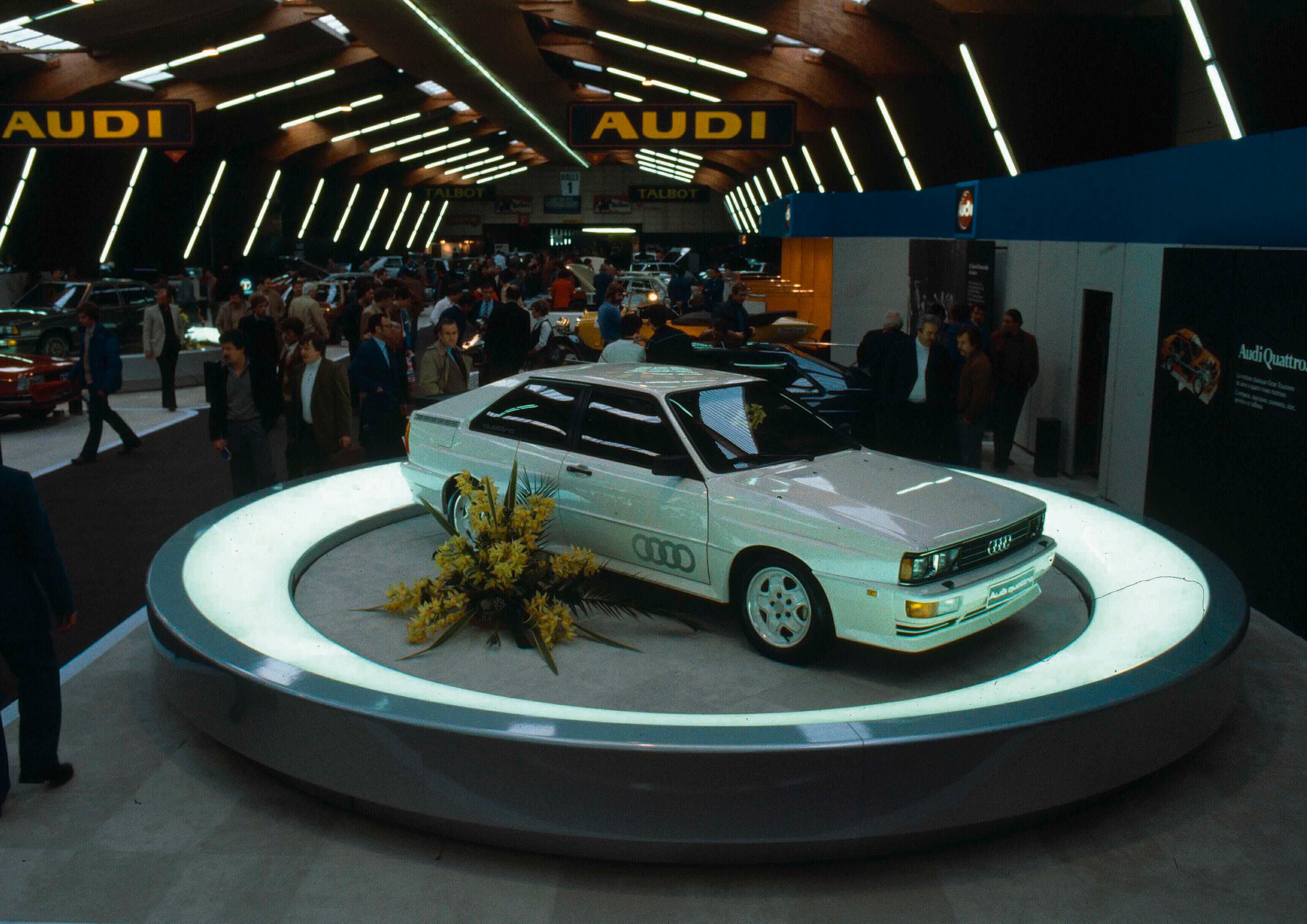 Im Maerz 1980 sorgte ein allradgetriebenes, sportliches Coup  fuer gewaltiges Aufsehen auf dem Audi Stand beim Genfer Automobilsalon: Audi quattro.