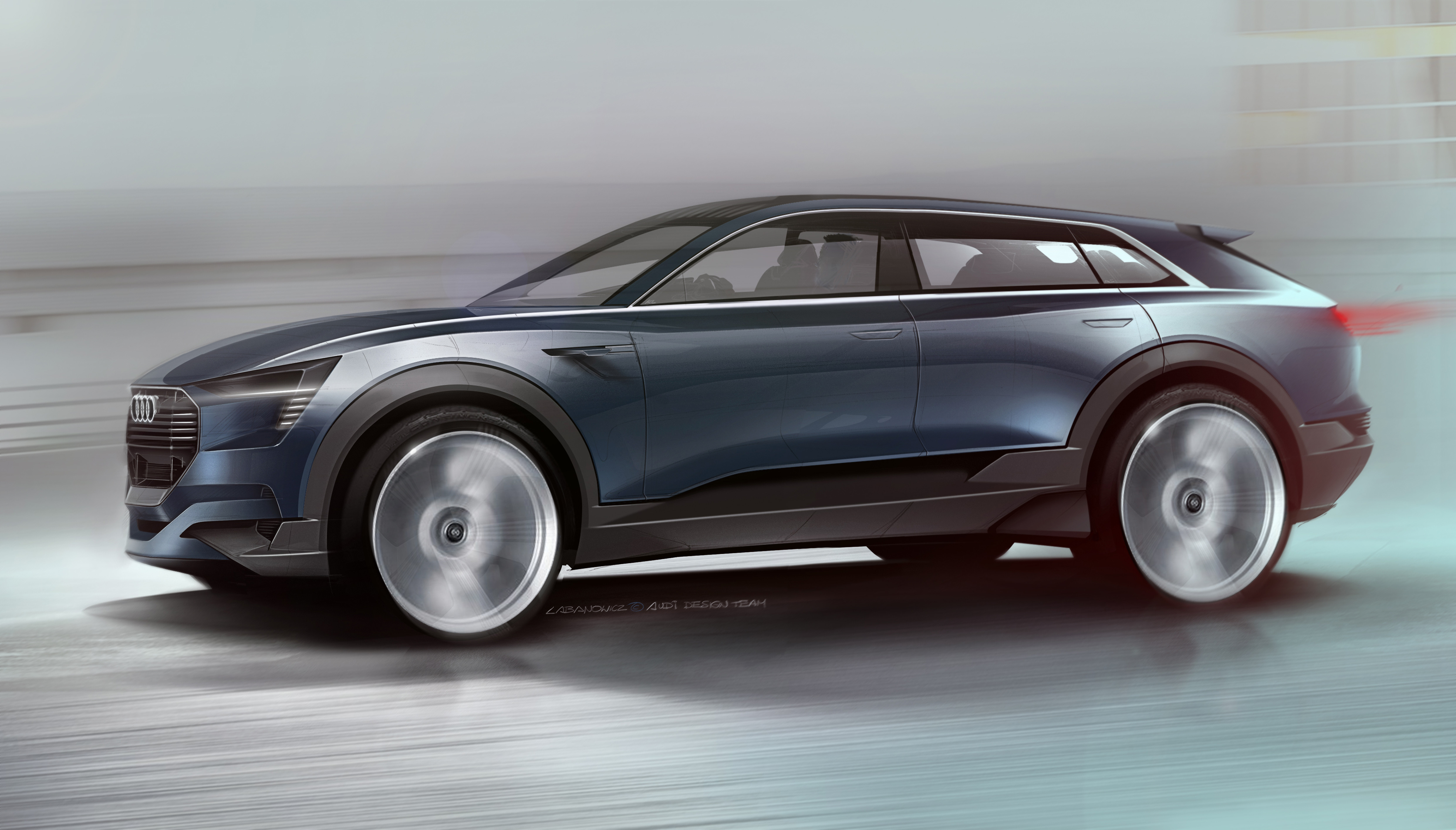 Audi e-tron quattro concept â?? Exterior Sketch