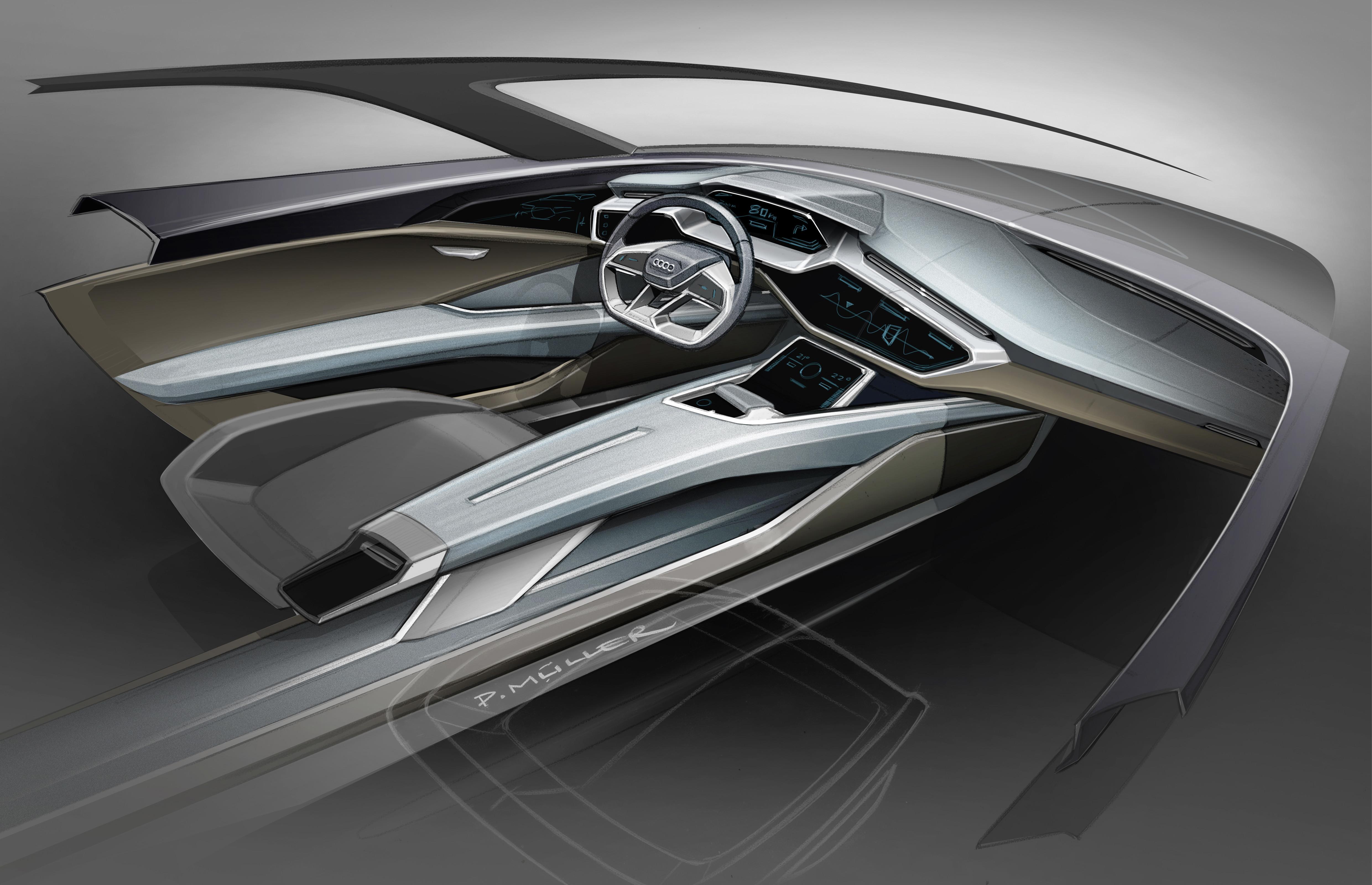 Audi e-tron quattro concept â?? Cockpit Sketch