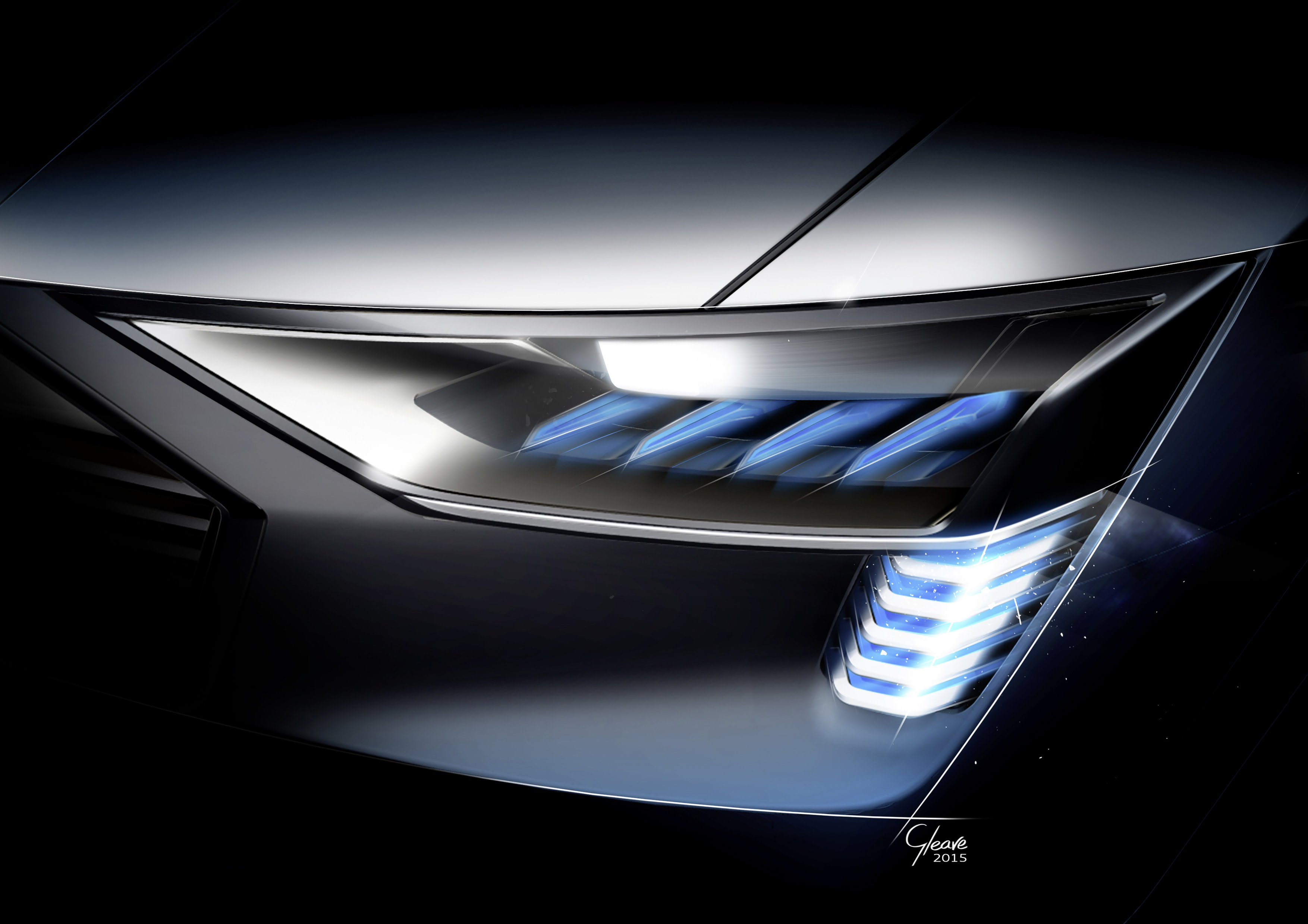 Audi e-tron quattro concept â?? Headlight with e-tron light sign